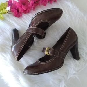 Gianni Bini Oiled Leather Mary Jane Pumps Size 7.5